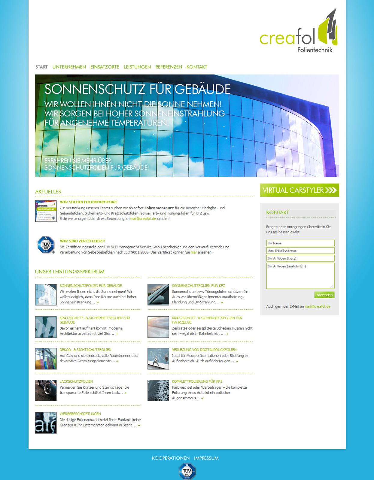 Creafol Webseite