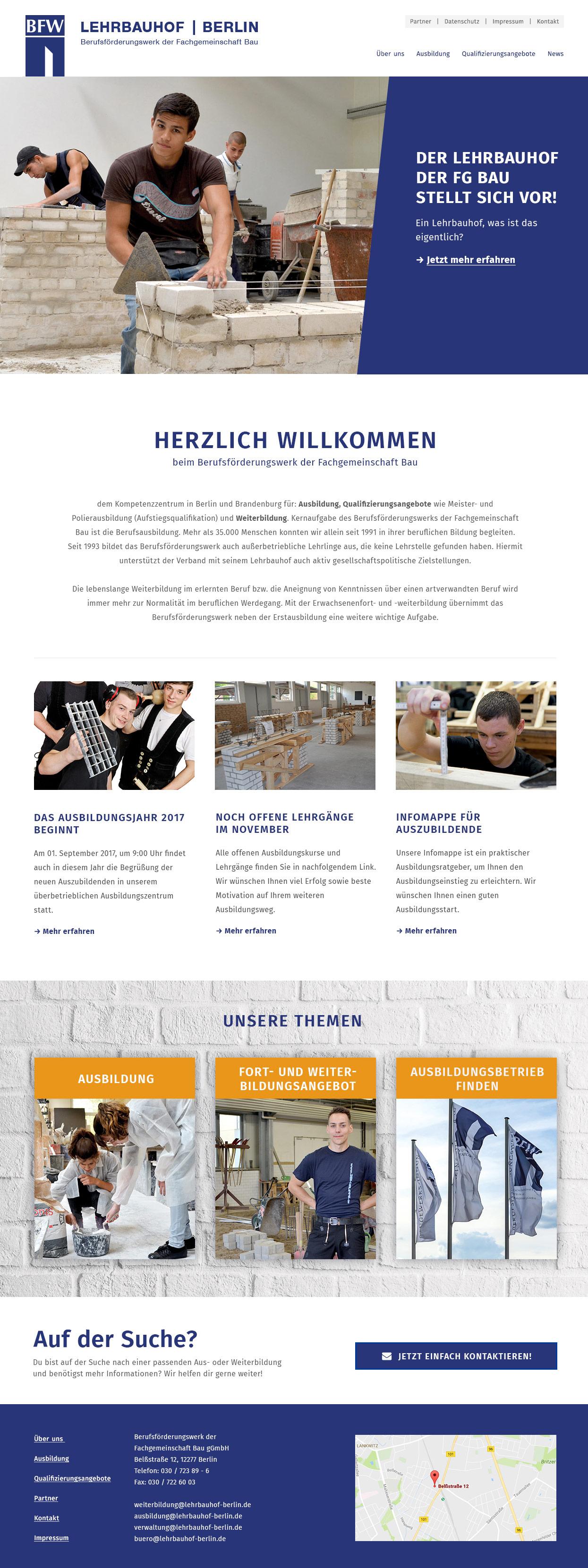 Berufsförderungswerk der Fachgemeinschaft Bau Berlin und Brandenburg e.V. Lehrbauhof Berlin Webseite