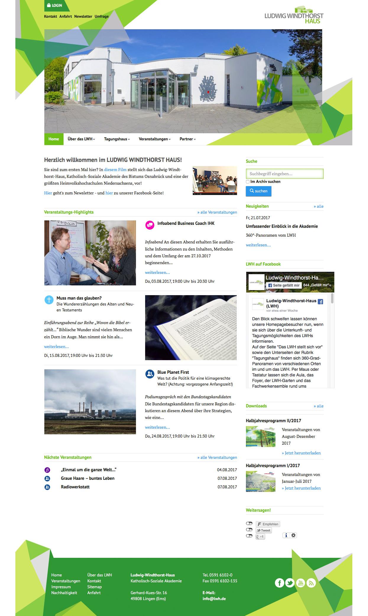 LWH Ludwig Windthorst Haus Webseite Webseite Seminare Veranstaltungsmodul Typo 3