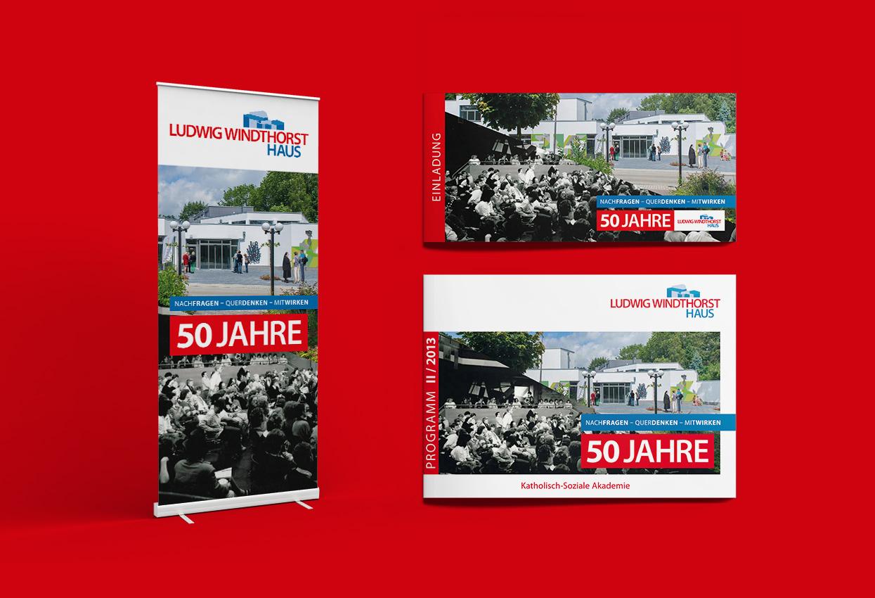LWH Ludwig Windhorst Haus Lingen 50 Jahre Programm Einladung Klappkarte Rollup Magazin Broschüre