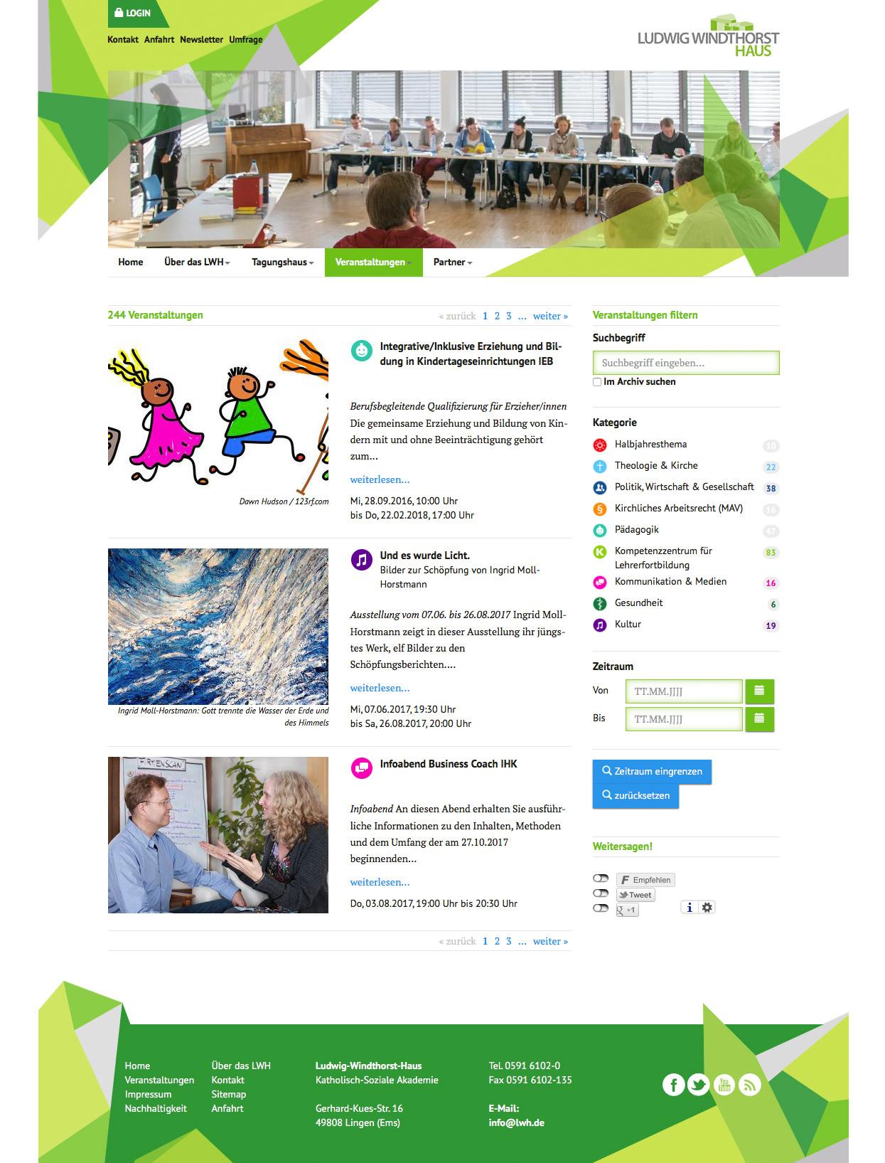 LWH Ludwig Windthorst Haus Webseite Seminare Veranstaltungsmodul