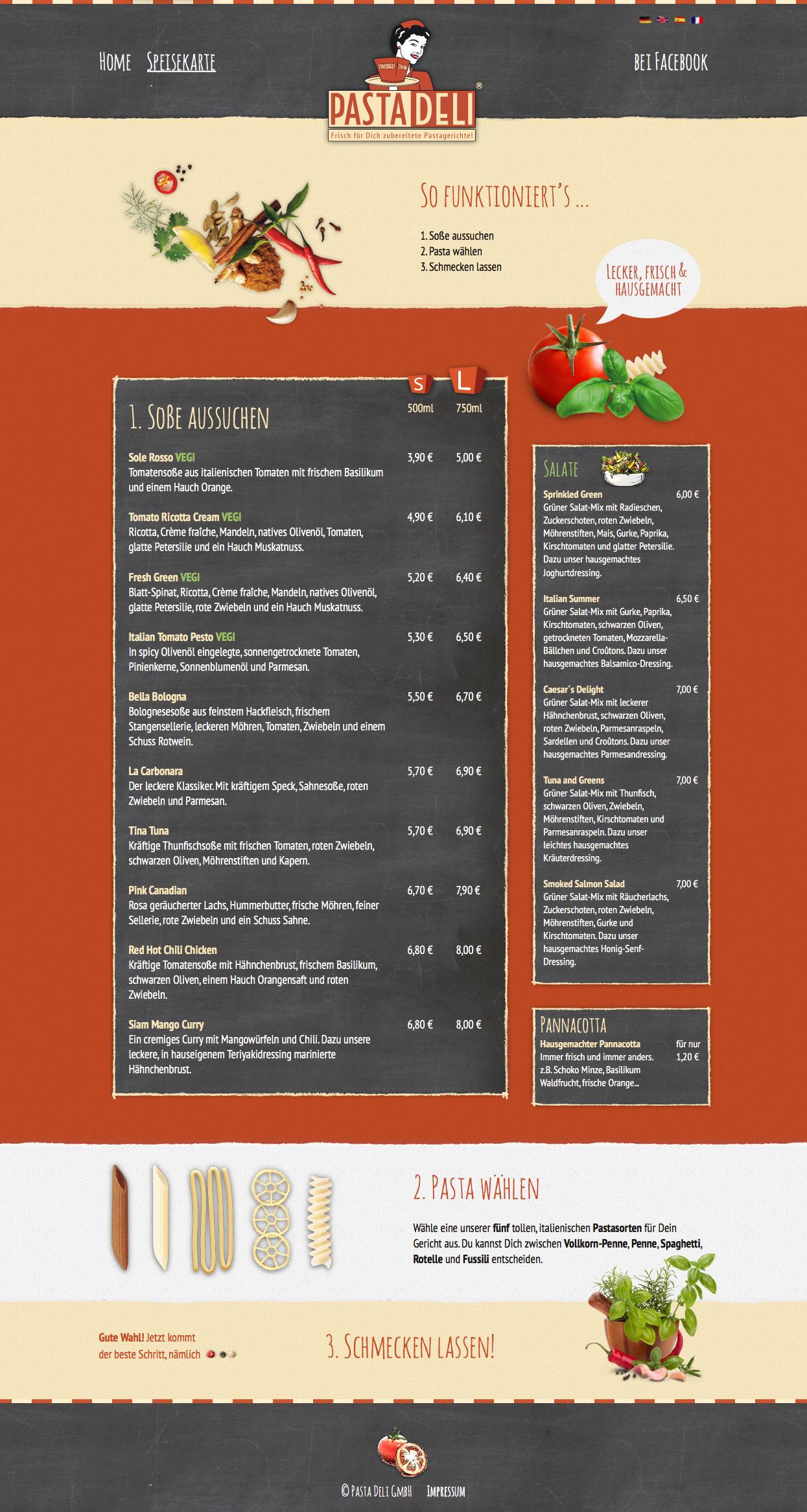 Pasta Deli Webseite