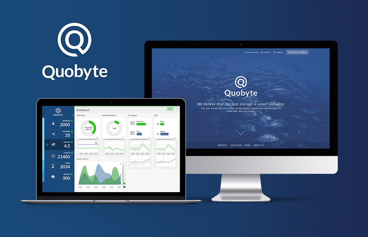 Quobyte Webdesign Webseite Dashboard Corporate Design