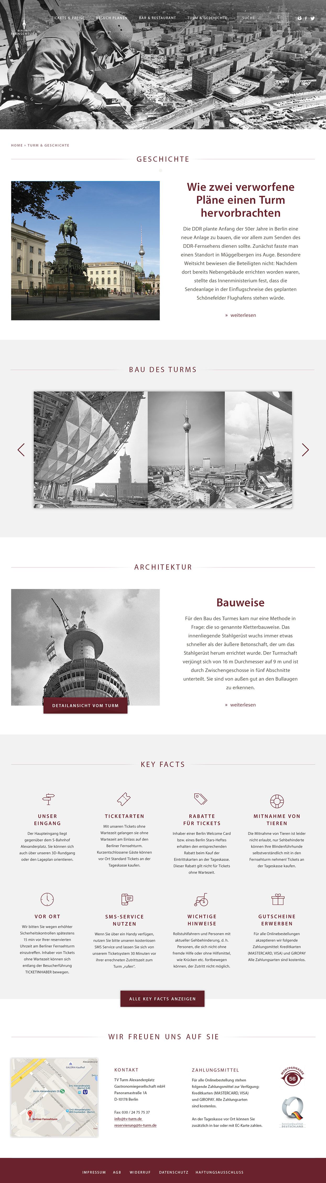Berliner Fernsehturm Webseite